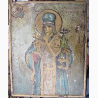 Икона Иоасаф Белгородский, письмо на жести, царская Россия