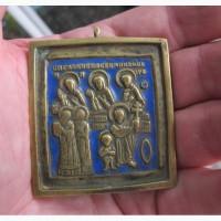 Медная икона в эмалях Святые мученики, 19 век