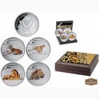 Красивый набор из 4 монет с изображением больших кошек Африки