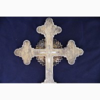 Старинный напрестольный крест. Серебро 84. Мастерская В.П. Москва, 1875 год