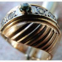 Перстень золотой: сапфир, 2 брюлла