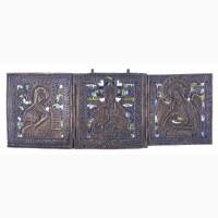 Старинный трехстворчатый складень «Деисус». Российская Империя, конец XVIII в