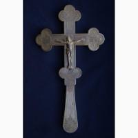 Старинный напрестольный крест. Серебро «84». Мастер Николай Тарабров. Москва, конец XIX в