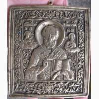 Литая икона Николай Чудотворец, 19 век