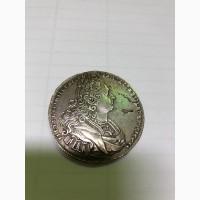 Серебряная монета 1 рубль, 1727 года Петр II