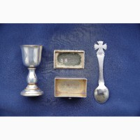 Старинная серебряная Дароносица, украшенная изящной гравировкой. Россия, Москва, 1877 г
