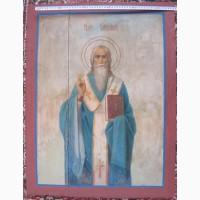 Икона надвратная двусторонняя Святые Илья и Харлампий, 19 век