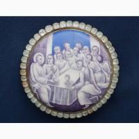 Старинная ростовская финифть «Тайная Вечеря» в серебряной оправе. Российская Империя, 1804г