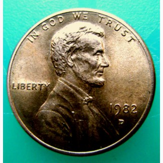 Редкая монета 1 цент 1982 год