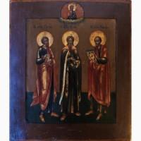 Продается Икона Св. ап. Петр, Св. пророк Илья, Св. ап. Павел конец XIX века