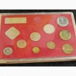Годовой набор монет СССР 1990 год.Твердая упаковка.Красная подложка. ЛМД