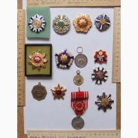 Ордена Япония пожарным и Красный Крест, тяжелый металл, серебро, эмали, коллекция
