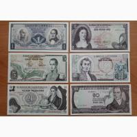 Колумбия, сет из 14-ти банкнот, 1973-2012, UNC