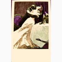 Редкая открытка. Модерн. В кабинете ресторана.1908 год