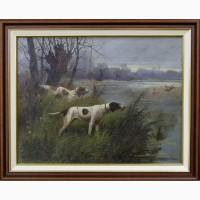 Продается Картина Сеттеры охотящиеся на утку. Eugène Petit (1839-1886 гг.)