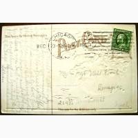 Редкая открытка С Рождеством! США, 1909 год