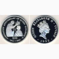 Монета сеебряная коронации Елизаветы2 - 40лет