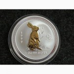 Австралия 1 доллар 1999 Год КРОЛИКА Заяц Лунар лунный календарь Унция серебра идеал