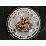 Австралия 1 доллар 2003 Год Козы Лунар лунный календарь Унция серебра идеал