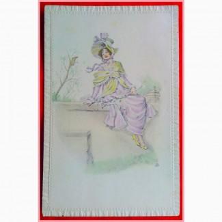 Редкая открытка. Модерн. Девушка весна1909 год