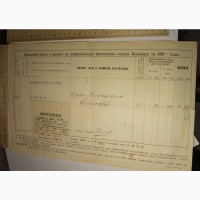Земская бумага Окладной лист о налоге с недвижимых имуществ города Коломны за 1894 год