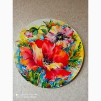 Продам декоративную тарелку, ручная роспись, керамика, натуральные минеральные краски
