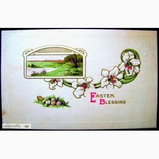 Редкая открытка Пасхальное Благословение!. США 1914 года