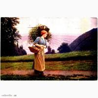 Редкая открытка. Salon Белланже. Девушка. С поля. 1917 год