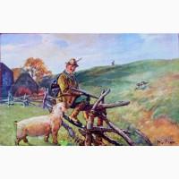 Редкая открытка Охота на зайца 1911 год