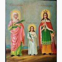 Продается Икона Св. мч. Татьяна, Св. вл.мч. Екатерина, Св. вл.мч. Любовь конец XIX века