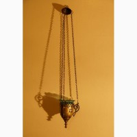 Старинная подвесная лампада из латунного сплава со стаканом. Россия, кон. XIX века