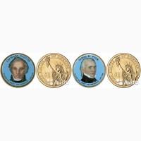 Продам две цветные монеты американские президенты
