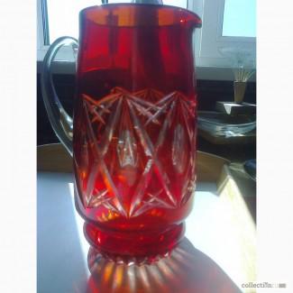 Кувшин, двухслойное рубиновое стекло