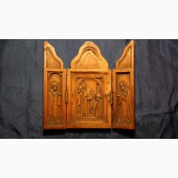 Старинный резной складень с изображением явления Пресвятой Богородицы преп.Сергию