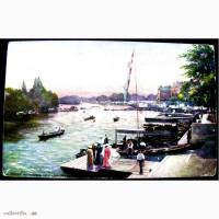 Редкая открытка. Темза. Вид с моста.1898 год