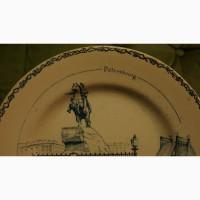 Тарель декоративная с Медным Всадником (памятником Императору Петру Великому). XIX век