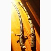 Шамшир, серебро, эмали, кость, Кубачи, 1970е годы, клинок раздвоенный Зуль - Факар