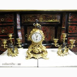 Старинные каминные часы с канделябрами, миниатюрные. Франция