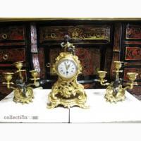 Старинные каминные часы с канделябрами, миниатюрные. Франция .