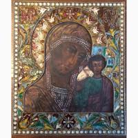 Икона Казанской Божьей Матери, шикарный оклад, клейма, эмали! Редкость