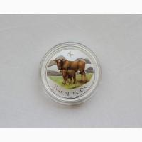 Продается Серебряная монета Австралии 1 доллар Год Быка 2009 года. 31, 5 гр 999 проба