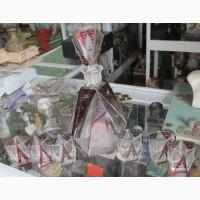 Графин и 6 рюмок рубиновое стекло, ручная гравировка, Германия