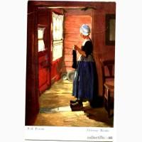 Редкая открытка Дама вяжет.1917 год