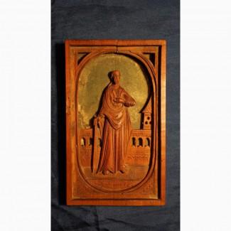 Старинная резная икона с изображением св.Крестителя Господня Иоанна. Русский Север, XVIII