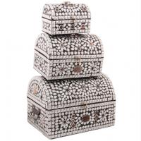 Сундук-шкатулка, набор из 3-х штук. Чеканка, инкрустация натуральными камнями