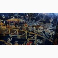 Старинный поднос с изысканной лаковой росписью в стиле Шинуазри. Китай. XVIII век