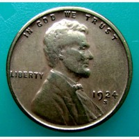 Редкая монета США 1 цент 1924 года