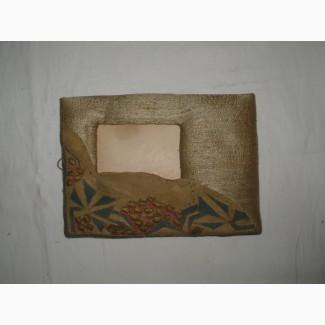 Старинная рамка для фотографии из текстиля - шелк, парча