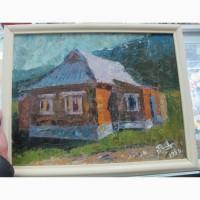 Картина Домик в деревне, картон, масло, НХ