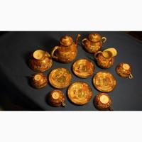 Чаи ный сервиз из восьми предметов. Фарфор Сацума. Япония, кон. XIX века